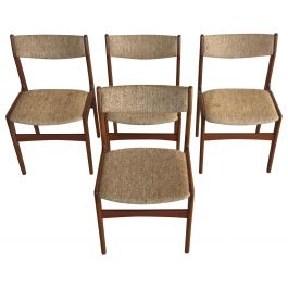 1960s Erik Buch Set of Four Teak Dining Chairs Inc. Reupholstery