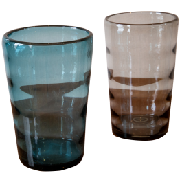Two optic ribbed glass vases