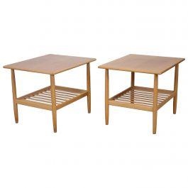 Pair of Two Side Tables in Oak by Ejvind A. Johansson for FDB