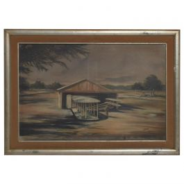 Midcentury Airplane Hangar Impressionist Oil on Canvas Modern Art Aviation