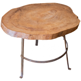 An industrial table with reclaimed log top
