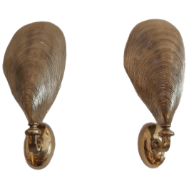 Bronze Mussel Sconces from Maison Jansen, 1970s, Set of 8