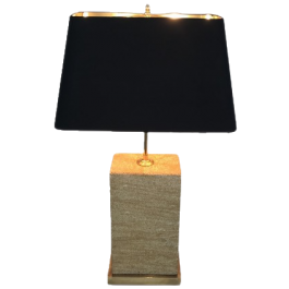 RECONSTITUTED STONE & BRASS ADJUSTABLE TABLE LAMP
