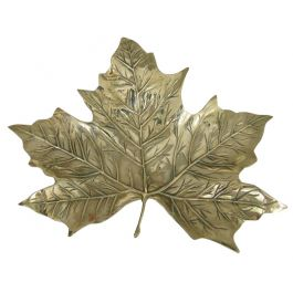 Brass maple leaf dish