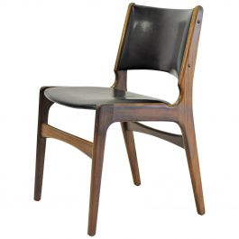 Erik Buch Refinished Danish Dining Chairs in Solid Teak, Inc. Reupholstery