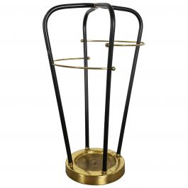 Bauhaus Metal Brass Hollywood Regency Umbrella Stand, Germany, 1950s