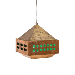 A square copper and green glass pendant light by Hans-Agne Jakobsson (1919 - 2009)