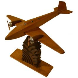 1950s Wooden Plane Model Sculpture