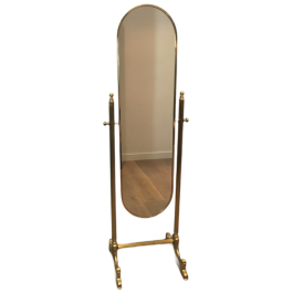 NEOCLASSICAL STYLE BRASS PSYCHE MIRROR ON STAND
