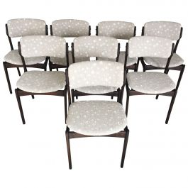 Erik Buch Set of Eight Restored Tanned Oak Dining Chairs Inc, Re-Upholstery