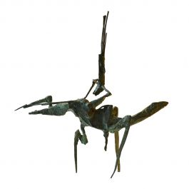 Brutalist Bronze Sculpture of Acrobat on Horse by Dutch Artist Jacobs
