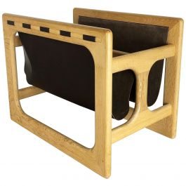 Minimalistic 1970s Danish Oak Wood Magazine Rack Design Made by Salin Møbler