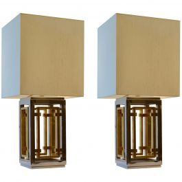 Romeo Rega Pair of Table Lamps, Chrome and Brass with Cream Square Shades