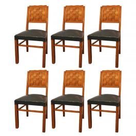 Six Dining Chairs Midcentury French, circa 1950