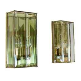 Glamorous Pair of French Brass and Facet Glass Sconces