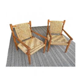 A WONDERFUL PAIR OF 1950S FRENCH ROPE AND WOOD CHAIRS BY AUDOUX AND MINET