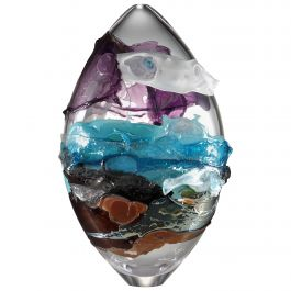 Shore II, a Blue, Purple, Brown and Mixed Colored Glass Vase by Bethany Wood