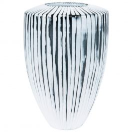 Shell II, a Unique white & slate grey Art Glass Vase by Laura Birdsall