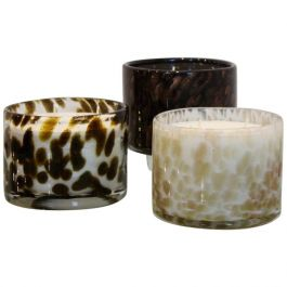 Artisan Set of Hand Blown Leopard Glass Candleholders with Natural Candlewax
