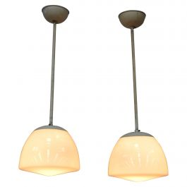 Pair of Early Gispen Pendant Lamps, Netherlands, 1930s-1940s