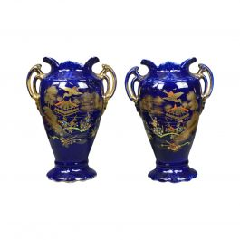 Pair of Decorative Baluster Vases, Ceramic Urns, Gold, Blue, Late 20th Century