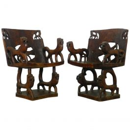 Two Pairs of African Chairs Carved Animals Wood Armchairs Early 20th Century