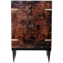 Bar Cabinet in Goatskin Parchment by Aldo Tura, 1960s