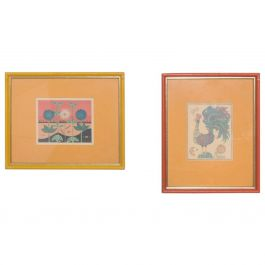 Midcentury Pair of Art Prints Bright Rooster and Flower Orange and Yellow