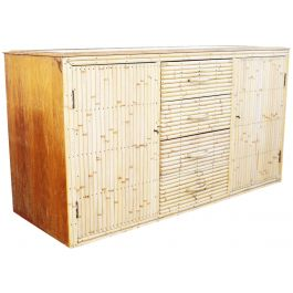 A 1960's Bamboo & Glass Sideboard in the Style of Gabriella Crespi