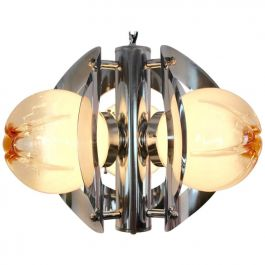 Geometric Chrome and Frosted Glass Chandelier by A.V. Mazzega