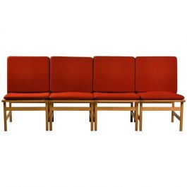 1960s Børge Mogensen Model 3232 Lounge Chairs in Oak and Red Fabric