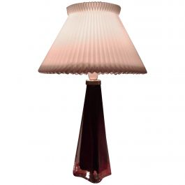 1960s Large Classic Carl Fagerlund Triangular Red and Clear Glass Table Lamp