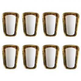 Eight Brass and Glass Wall Sconces, 1950s