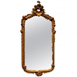 French Louis XV Period Hand-Carved Giltwood Mirror