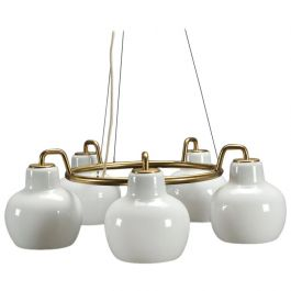 1950s Set of Two Vilhelm Lauritzen Ring Chandelers by Louis Poulsen