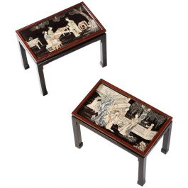 Pair of Coromandel Lacquer Occasional Tables