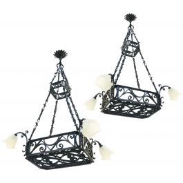 Large Belle Epoque Chandeliers French Antique Lights Heavy Wrought Iron And Glass
