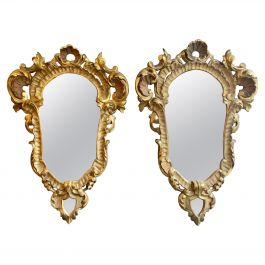Pair of Italian Carved Giltwood Rococo Mirrors