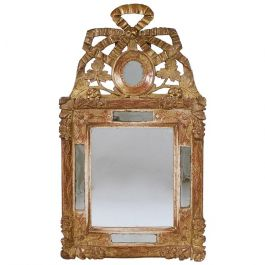 Louis XVI Ribbon-Crest Giltwood Mirror