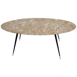 Italian Midcentury Coffee Table with Marble Top and Stiletto Brass Feet, 1950s