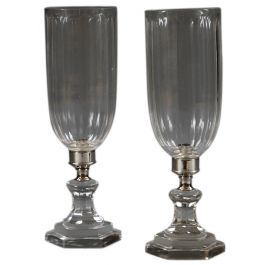 A pair of modern cut glass Regency style storm shades.