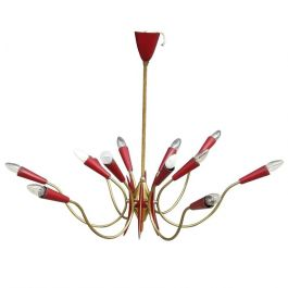 Stilnovo Style 1950s Italian Twelve Light Dark Red Chandelier