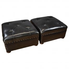 Pair of 20th Century Large Leather Stools