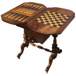 Victorian Burr Walnut Inlaid Games Table or Work Table