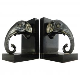 Pair of Art Deco Elephant Head Bookends, French, circa 1930