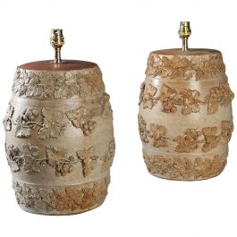 Pair of Victorian Stoneware Gin Barrels as Table Lamps with Trailing Vines