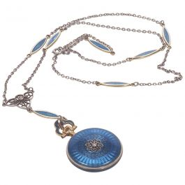 Concord Watch Co. Diamond Enamel Pendant Watch Necklace, 1915