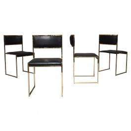 Willy Rizzo Gold-Plated Dining Chairs by Mario Sabot, Italy, 1970s