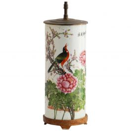 Chinoiserie Table Lamp Hand Painted Chinese Porcelain, circa 1920-1930