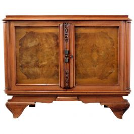 Small French Sideboard Credenza Buffet Walnut Midcentury